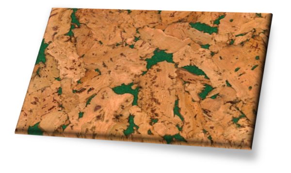 Vitoria Green - Traditional Gluedown Cork Wall Tile. Unfinished.